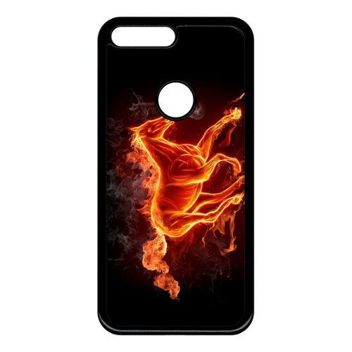 Coque Pour Smartphone Cheval En Feu Compatible Avec Google Pixel Xl Plastique Bord Noir