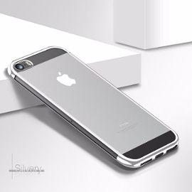 coque iphone 5 5s se welkoo coque iphone 5s en silicone housse iphone 5 en silicone couleur transparente contour partiellement argente souple et flexible compatible avec l iphone 5 5s et se 1199953902 ML