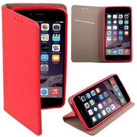coque iphone 5s se a rabat rouge housse etui fin smart magnetique de moozy avec stand pliant et support de telephone en silicone 1094265686 ML