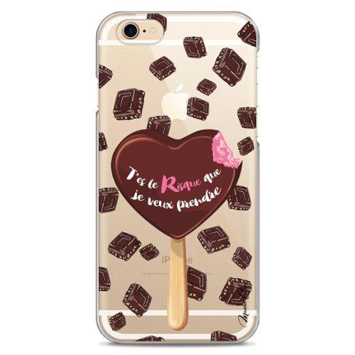 Coloriage Coeur Chocolat.Coque Iphone 6 6s Transparente Motif Designer Dessin Coeur Chocolat Dessert Gourmandise Impression Haute Qualite Coque Hybride Avec Bumper