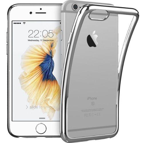 coque iphone 7 iphone 8 welkoo coque iphone 7 en silicone housse iphone 8 en silicone couleur transparente contour argent souple et flexible compatible avec l iphone 7 et 8 1199760386 L
