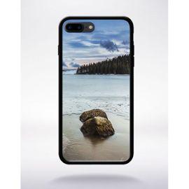 Coque pour smartphone - Paysage enneigé - compatible avec apple iPhone 7 - Silicone - bord Noir
