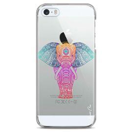 coque pour iphone 5c transparente hybride avec bumper souple en tpu face arriere dur avec un motif elephant pastel dessin design mandala tribal design exclusif master case 1195364270 ML