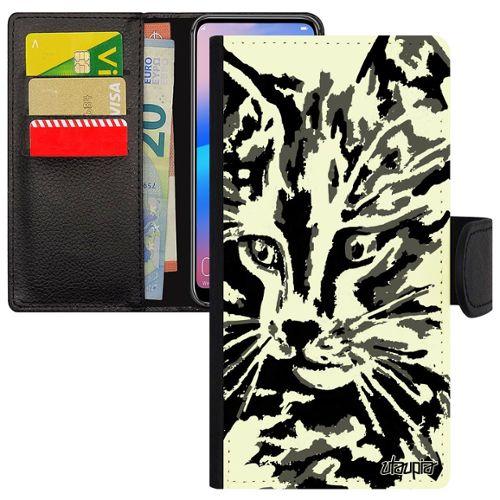 Portefeuille à rabat porte-monnaie chat noir