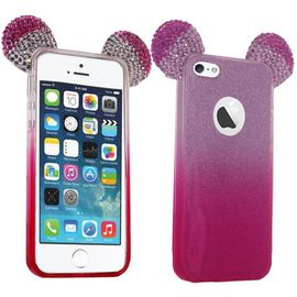 coque silicone strass paillettes oreilles mickey rose pour iphone 5s 1196906936 ML