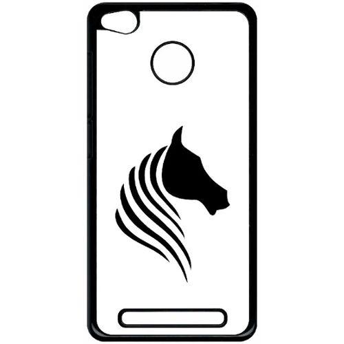 Coque Pour Smartphone Cheval Fond Blanc Compatible Avec Xiaomi Redmi 3s Plastique Bord Noir