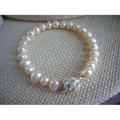 Bracelet FEMME BOULES /& PERLES culture Plaqué OR NEUF