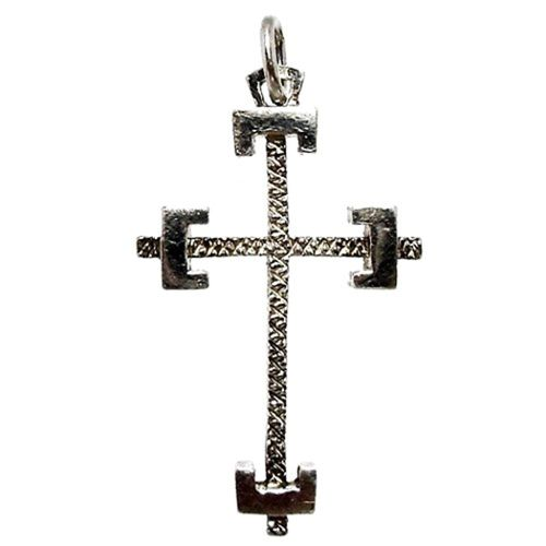 Argent Sterling Et or 14k Overlay Crucifix Cross Charme Collier 18/""
