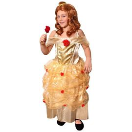 Deguisement Pour Enfant Avec Cette Robe Doree Et Details De Fleurs Rouges Ideal Pour Les Fetes De Fin D Ecole Taille Large Rakuten