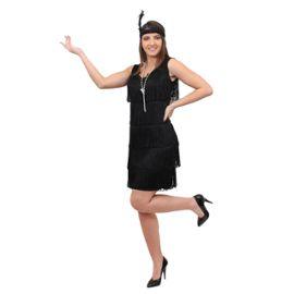 Deguisement Pour Femme Des Annees 20 Avec Robe Noir A Franges Devant Et Derriere Style Charleston Un Bandeau A Plume Assorti Un Collier De Fausses Perles Argente Large Rakuten