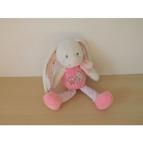 * TTBE DOUDOU HOCHET PLAT HELLO KITTY ROSE GRELOT INTERIEUR RAYE BLANC ROSE