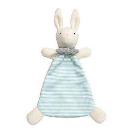 style populaire recherche d'officiel Royaume-Uni Doudou lapin H&M blanc rayé vert d'eau bleu écharpe grise peluche jouet  bébé H et M