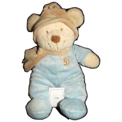 doudou plat ours marron beige pull blanc et bleu rayé rayure POMMETTE grelot