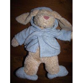 Doudou Peluche Lapin Rabbit Sia Marron Robe De Chambre Peignoir Chaussons  Bleu Ciel