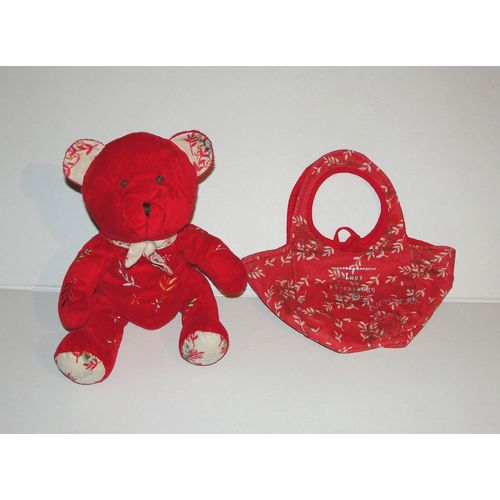 Peluche doudou ours rouge Nocibe 2006 Ines 26 cm