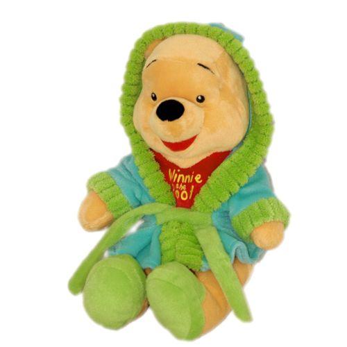 Doudou peluche ours Winnie The Pooh Winnie L\'ourson Disney Nicotoy jaune  rouge En Robe De Chambre peignoir Vert Bleu Capuche 32 Cm