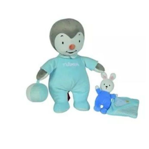 Doudou T Choupi Bleu Ciel Raye Blanc Petit Lapin Mouchoir Bebe Ballon Peluche Tchoupi Nicotoy D Activite Jouet Naissance