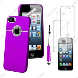 ebeststar pour apple iphone se 5s 5 housse coque rigide silver line chrome mini stylet 3 film ecran couleur violet dimensions precises de votre appareil 123 8 x 58 6 x 7 6 mm ecran 4 1124871800 ML