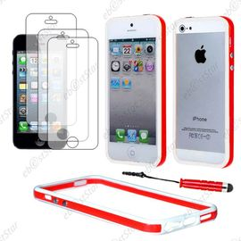 ebeststar pour apple iphone se 5s 5 housse etui coque bumper de protection mini stylet 3 film ecran couleur rouge blanc dimensions precises de votre appareil 123 8 x 58 6 x 7 6 mm ecran 4 1114711492 ML