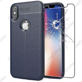ebeststar pour apple iphone x ecran 5 8 34 iphone 10 coque motif cuir luxe etui housse flexible silicone gel cussins d 39 air 43 film en verre trempe couleur bleu fonce 1146334753 ML