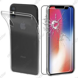 ebeststar pour apple iphone x ecran 5 8 34 iphone 10 housse etui coque silicone gel souple ultra fine 0 3mm et invisible 43 film protection ecran en verre trempe couleur transparent 1146204849 ML