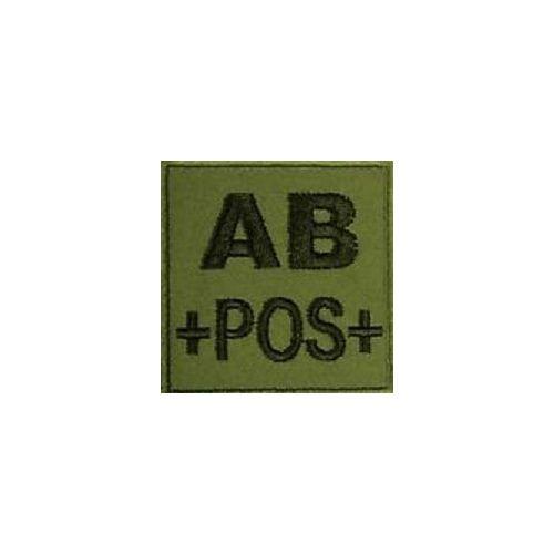PATCH POSITIF NOIR SUR FOND VE ECUSSON 3D TISSU AVEC SCRATCH GROUPE SANGUIN O