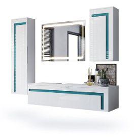 Ensemble De Salle De Bain Blanc Et Turquoise Avec Miroir Rakuten