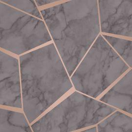 Fond Décran Géométrique En Marbre Fractal Charbon Gris Et Cuivre Fine Decor Fd42266