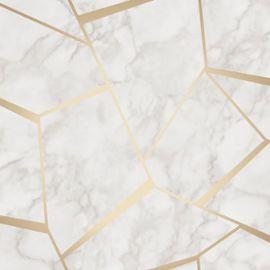 Fond Décran Géométrique En Marbre Fractal Or Et Blanc Fine Decor Fd42265