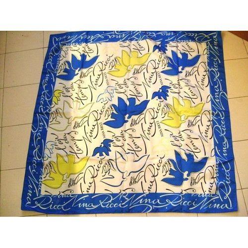 factory authentic competitive price new photos Foulard Nina Ricci Oiseaux Neuf Bleu Blanc Jaune 90 Cm