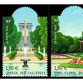 france 2004, salon du timbre, jardins de france, très beaux exemplaires  neufs** luxe yvert 3673 jardin des tuileries et 3674 parc floral de paris.