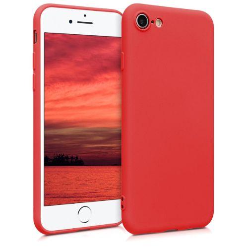 kwmobile coque apple iphone 7 8 coque pour apple iphone 7 8 housse de telephone en silicone rouge fluo 1241112423 L