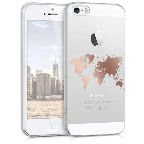 kwmobile coque pour apple iphone se 5 5s en silicone tpu coque protectrice pour portables etui translucide en or rose transparent 1167238662 L
