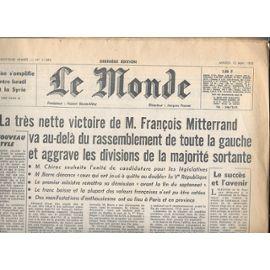 Le Monde Du 12 Mai 1981 (Élection De François Mitterrand)
