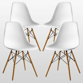 French Days - Lot de 4 Chaises Scandinaves Blanches
