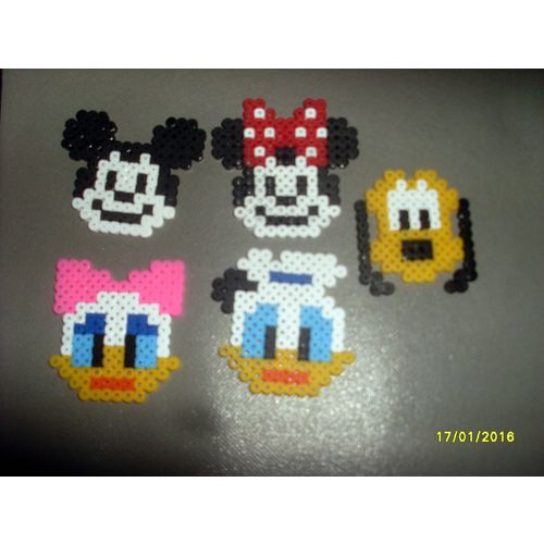 Lot De 4 Dessous De Verres 1 Gratuit Personnages De Notre Enfance Disney En Perles à Repasser Hama