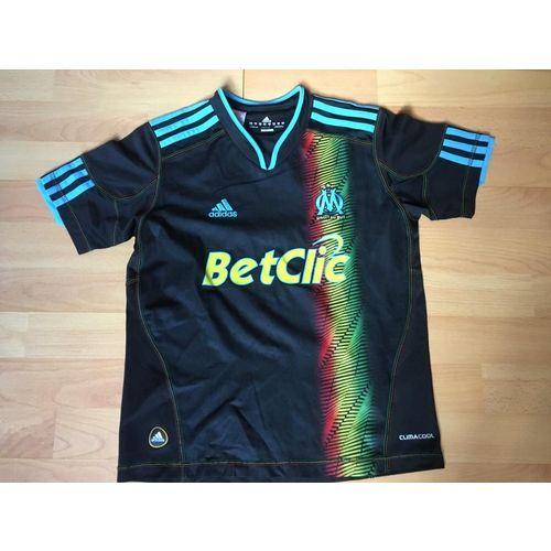 Maillot Foot Olympique de Marseille (OM) noir et bleu Adidas 10 ans