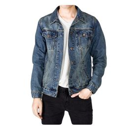 80cda6383 Manteau en jean homme en coton slim style de rétro Veste denim pour hommes  Blouson mode de décontractée