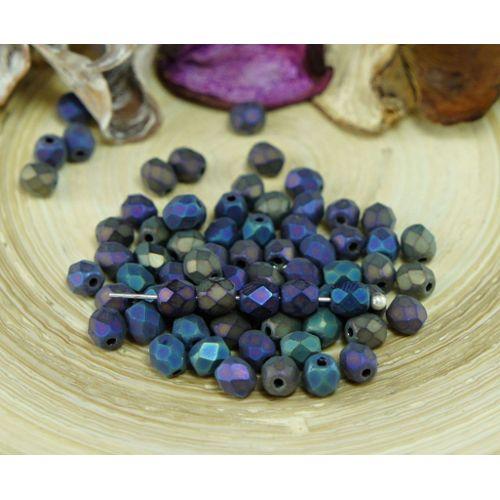 Feuerpolierte Glasschliffperlen Iris Blue 3mm Glasperlen Facettiert