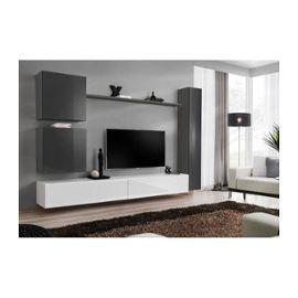 Ensemble De Meuble Pour Salon Mural Switch Viii Meuble Tv Mural Design Coloris Blanc Et Gris Brillant