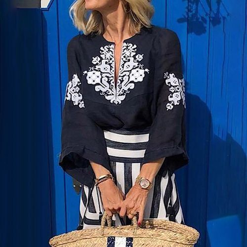 Nouveau Haut Plus Taille Haut Femme Peplum frill Bell Manche Tunique Chemisier Chaîne Clé