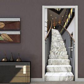 Moderne Creatif 3d Stereo Marbre Escalier Porte Autocollant Salon Hotel Pvc Auto Adhesif Etanche Papier Peint Decor A La Maison Autocollants