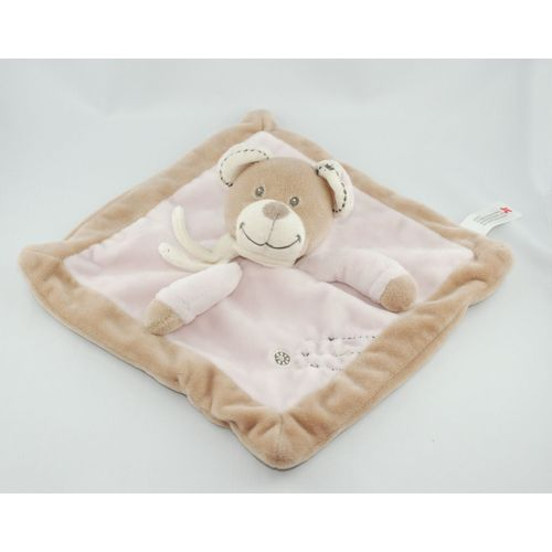 Doudou nicotoy ours cuddles plat carre rose beige marron neuf