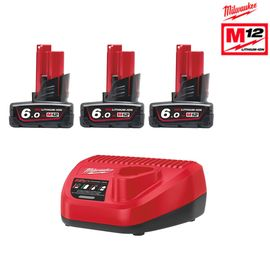 Pack de 3 batteries NRJ Milwaukee M12 6.0Ah - Chargeur 4933459208
