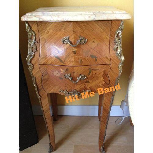 D'anciennes Marbre Avec Tables Chevet De Style Tiroirs Louis Paire Art Bois Xv Déco 2 klPZOXuiwT