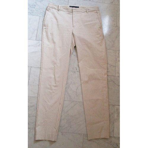 pantalon zara basic blanc cru avec fines rayures. Black Bedroom Furniture Sets. Home Design Ideas