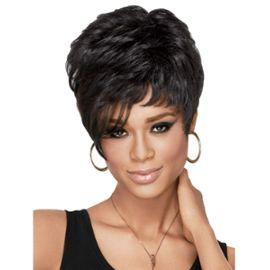 Coiffures cheveux courts noir perruques pour