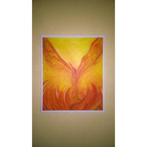 A4 ~ Phoenix Noir ~ Bois Photo Certificat Cadre avec verre