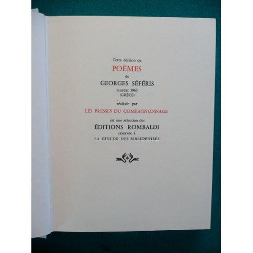 Poêmes De Georges Séféris Lauréat 1963 Grèce Collection Des Prix Nobel De Littérature Réalisée Sous Le Patronage De Lacadémie Suédoise Et De La
