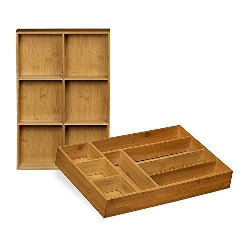 Relaxdays 10020330 Organiseur de tiroir réglable lot de 2 range-couverts  ajustable en bois de bambou avec cloison de séparation amovible cuisine ...